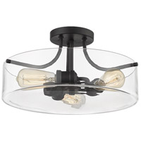 Z-Lite 471SF-MB Delaney 3 Light 15 inch Matte Black Semi Flush Mount Ceiling Light