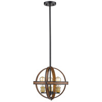 Kirkland 3 Light 14 inch Rustic Mahogany Pendant Ceiling Light