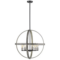 Kirkland 6 Light 26 inch Ashen Barnboard Pendant Ceiling Light
