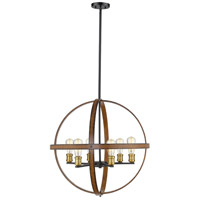 Kirkland 6 Light 26 inch Rustic Mahogany Pendant Ceiling Light