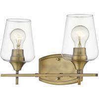 Z-Lite 473-2V-OBR Joliet 2 Light 15 inch Olde Brass Vanity Wall Light