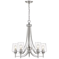 Joliet 5 Light 25 inch Brushed Nickel Chandelier Ceiling Light