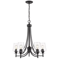 Joliet 5 Light 25 inch Matte Black Chandelier Ceiling Light