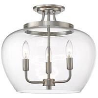 Z-Lite 473SF-BN Joliet 3 Light 16 inch Brushed Nickel Semi Flush Mount Ceiling Light