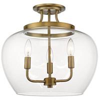 Z-Lite 473SF-OBR Joliet 3 Light 16 inch Olde Brass Semi Flush Mount Ceiling Light