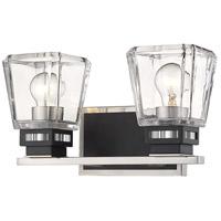Z-Lite 474-2V-BN-MB Jackson 2 Light 14 inch Brushed Nickel and Matte Black Vanity Wall Light