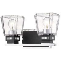 Z-Lite 474-2V-CH-MB Jackson 2 Light 14 inch Chrome and Matte Black Vanity Wall Light
