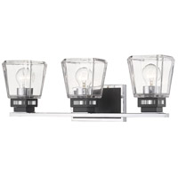 Z-Lite 474-3V-CH-MB Jackson 3 Light 24 inch Chrome and Matte Black Vanity Wall Light
