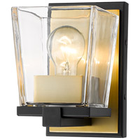 Z-Lite 475-1S-MB-OBR Bleeker Street 1 Light 5 inch Matte Black and Olde Brass Wall Sconce Wall Light