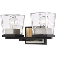 Z-Lite 475-2V-MB-BN Bleeker Street 2 Light 14 inch Matte Black and Brushed Nickel Vanity Wall Light