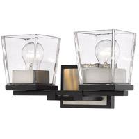 Z-Lite 475-2V-MB-BN Bleeker Street 2 Light 14 inch Matte Black and Brushed Nickel Vanity Wall Light