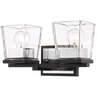 Z-Lite 475-2V-MB-CH Bleeker Street 2 Light 14 inch Matte Black and Chrome Vanity Light Wall Light