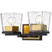 Z-Lite 475-2V-MB-OBR Bleeker Street 2 Light 14 inch Matte Black and Olde Brass Vanity Wall Light