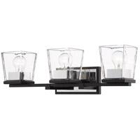 Z-Lite 475-3V-MB-CH Bleeker Street 3 Light 25 inch Matte Black and Chrome Vanity Wall Light