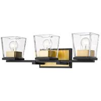 Z-Lite 475-3V-MB-OBR Bleeker Street 3 Light 25 inch Matte Black and Olde Brass Vanity Wall Light