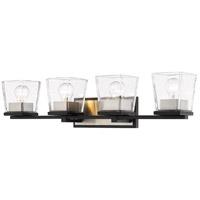 Z-Lite 475-4V-MB-BN Bleeker Street 4 Light 33 inch Matte Black and Brushed Nickel Vanity Wall Light