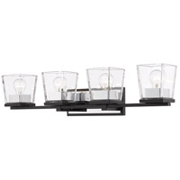 Z-Lite 475-4V-MB-CH Bleeker Street 4 Light 33 inch Matte Black and Chrome Vanity Wall Light