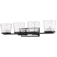 Z-Lite 475-4V-MB-CH Bleeker Street 4 Light 33 inch Matte Black and Chrome Vanity Wall Light