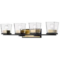 Z-Lite 475-4V-MB-OBR Bleeker Street 4 Light 33 inch Matte Black and Olde Brass Vanity Wall Light