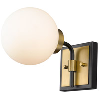 Z-Lite 477-1S-MB-OBR Parsons 1 Light 6 inch Matte Black and Olde Brass Wall Sconce Wall Light