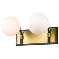 Z-Lite 477-2V-MB-OBR Parsons 2 Light 16 inch Matte Black and Olde Brass Vanity Wall Light