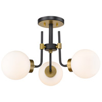 Z-Lite 477-3SF-MB-OBR Parsons 3 Light 22 inch Matte Black and Olde Brass Semi Flush Mount Ceiling Light