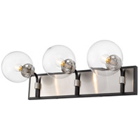 Z-Lite 477-3V-MB-BN Parsons 3 Light 24 inch Matte Black and Brushed Nickel Vanity Wall Light