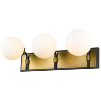 Z-Lite 477-3V-MB-OBR Parsons 3 Light 24 inch Matte Black and Olde Brass Vanity Wall Light