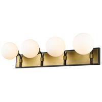 Z-Lite 477-4V-MB-OBR Parsons 4 Light 33 inch Matte Black and Olde Brass Vanity Wall Light