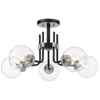 Z-Lite 477-5SF-MB-BN Parsons 5 Light 27 inch Matte Black and Brushed Nickel Semi Flush Mount Ceiling Light