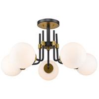 Z-Lite 477-5SF-MB-OBR Parsons 5 Light 27 inch Matte Black and Olde Brass Semi Flush Mount Ceiling Light