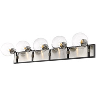 Z-Lite 477-5V-MB-BN Parsons 5 Light 42 inch Matte Black and Brushed Nickel Vanity Wall Light
