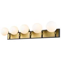 Z-Lite 477-5V-MB-OBR Parsons 5 Light 42 inch Matte Black and Olde Brass Vanity Wall Light