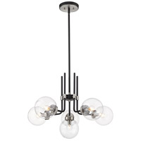 Z-Lite 477-6MB-BN Parsons 6 Light 27 inch Matte Black and Brushed Nickel Chandelier Ceiling Light photo thumbnail