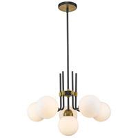 Z-Lite 477-6MB-OBR Parsons 6 Light 27 inch Matte Black and Olde Brass Chandelier Ceiling Light