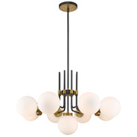Z-Lite 477-9MB-OBR Parsons 9 Light 32 inch Matte Black and Olde Brass Chandelier Ceiling Light
