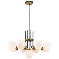 Z-Lite 477-9MB-OBR Parsons 9 Light 32 inch Matte Black and Olde Brass Chandelier Ceiling Light