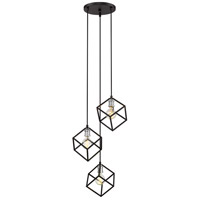 Z-Lite 478-3MB-BN Vertical 3 Light 18 inch Matte Black and Brushed Nickel Pendant Ceiling Light
