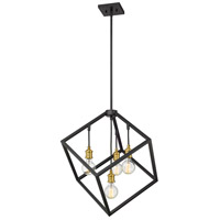 Z-Lite 478P24-BRZ-OBR Vertical 4 Light 24 inch Bronze and Olde Brass Pendant Ceiling Light
