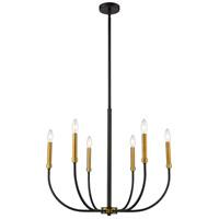 Z-Lite 479-6MB-OBR Haylie 6 Light 26 inch Matte Black and Olde Brass Chandelier Ceiling Light