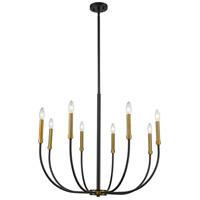 Z-Lite 479-8MB-OBR Haylie 8 Light 33 inch Matte Black and Olde Brass Chandelier Ceiling Light