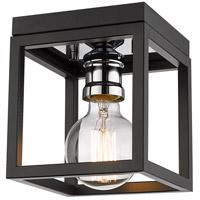 Z-Lite 480F1-MB-CH Kube 1 Light 6 inch Matte Black and Chrome Flush Mount Ceiling Light