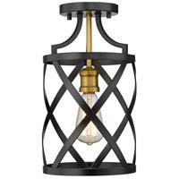 Z-Lite 481F1-MB-OBR Malcalester 1 Light 8 inch Matte Black and Olde Brass Flush Mount Ceiling Light