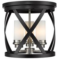 Z-Lite 481F13-MB-BN Malcalester 3 Light 13 inch Matte Black and Brushed Nickel Flush Mount Ceiling Light