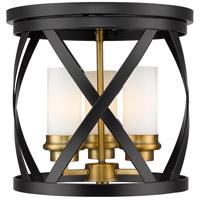 Z-Lite 481F13-MB-OBR Malcalester 3 Light 13 inch Matte Black and Olde Brass Flush Mount Ceiling Light