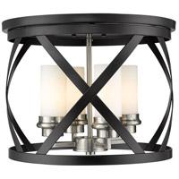 Z-Lite 481F16-MB-BN Malcalester 4 Light 16 inch Matte Black and Brushed Nickel Flush Mount Ceiling Light