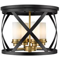 Z-Lite 481F16-MB-OBR Malcalester 4 Light 16 inch Matte Black and Olde Brass Flush Mount Ceiling Light