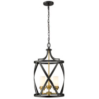Z-Lite 481P14-MB-OBR Malcalester 3 Light 14 inch Matte Black and Olde Brass Pendant Ceiling Light