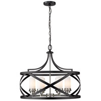 Z-Lite 481P24-MB-BN Malcalester 6 Light 24 inch Matte Black and Brushed Nickel Pendant Ceiling Light