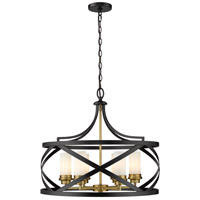 Z-Lite 481P24-MB-OBR Malcalester 6 Light 24 inch Matte Black and Olde Brass Pendant Ceiling Light